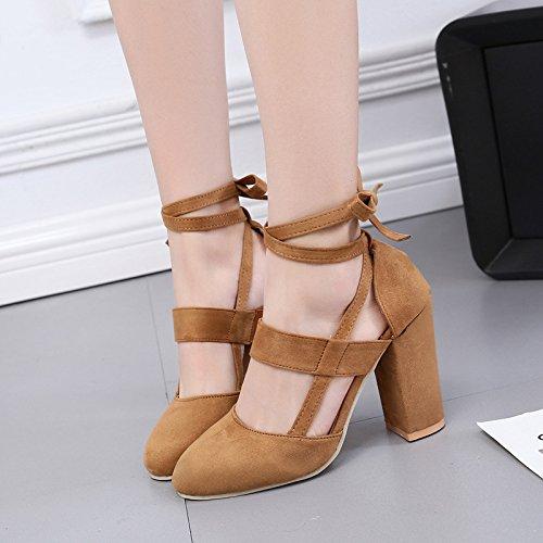 mujeres y cabeza correa anillo gran de con solo redonda tacón de ahuecada Forty zapatos sobredimensionado alto one zapatos tamaño Donyyyy de qvUSFU