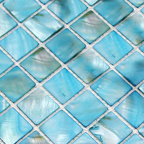 Blue Mother Of Pearl Mosaic - Hominter 6-Sheets Backsplash Tiles Blue Shell Mosaic Square, Colorful Mother of Pearl Ocean Tile, Natural Seashell Bathroom Accent Wall Tiles BK006