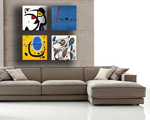 Quadri Moderni MIRO mirò 4 pezzi Stampa su Tela CANVAS Arredamento Arte  Astratto XXL Arredo per soggiorno salotto camera da letto cucina ufficio  bar ...