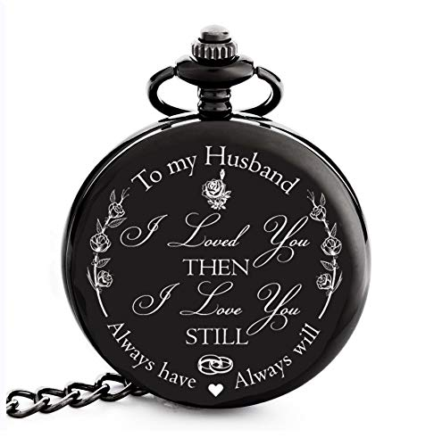 Anniversary Gifts for Men | Engraved 'To my Husband' Pocket Watch | Perfect Gift for Husband from Wife for Valentines / Birthday / Happy Wedding Anniversary! (15th Wedding Anniversary Gift Ideas For Him)