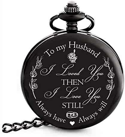 Anniversary Gifts for Men | Engraved 'To my Husband' Pocket Watch | Perfect Gift for Husband from Wife for Valentines / Birthday / Happy Wedding Anniversary!