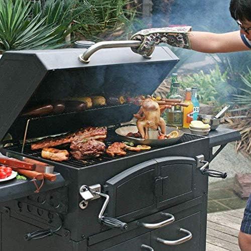 Grand Barbecue Au Charbon De Bois - Poussette pour Barbecue pour Les Réceptions en Plein Air Et La Préparation De La Cuisine - avec Support Chauffant, L155 X L68,5 X H131 Cm