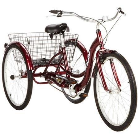 26 Schwinn Meridian Adult Tricycle with Rear Folding Basket, Cherry by Schwinn B01CZDA9YG