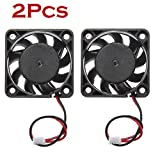 Iusun Mini Fan, 2Pcs 12V Cooling Fan For Computer/PC/CPU Silent - 40mm x 10mm DC Brushless 2-Pin (Black)