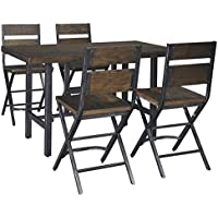 Ashley Furniture Signature Design - Kavari 5-Piece Dining Room Set - Includes Counter Height Table & 4 Barstools - Brown
