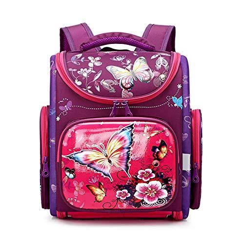 LFSHUB Neue Kinder Tasche Mädchen Schulrucksäcke Orthopädische 3D Cartoon Schmetterling Rucksack Kinder Schultaschen Kinder Schulranzen lila butterfly