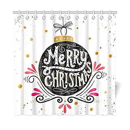 YSJXIM HomeDecor Cortina de baño Feliz Navidad Cartel Retro ...