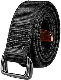 Plus Size 39-71'' Long Double Ring Big Mens Canvas Fabric Cloth Belts Black
