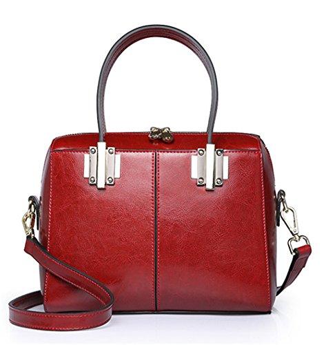 La mujer Xinmaoyuan bolsos de cuero auténtico Paquete Boston Pequeña bolsa Retro Bolso Messenger Portable,vino rojo Vino rojo