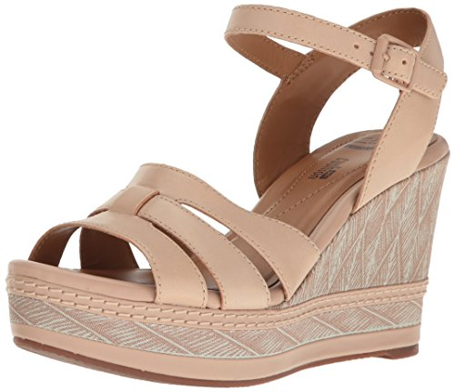 Clarks Women's Zia Noble Wedge Sandal, Nude Leather, 7.5 M US