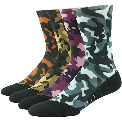 HUSO Men's Women's Stylish Athletic Sporty Team Camo High Tech Basketball Digital Compression Crew Socks 4 Pairs