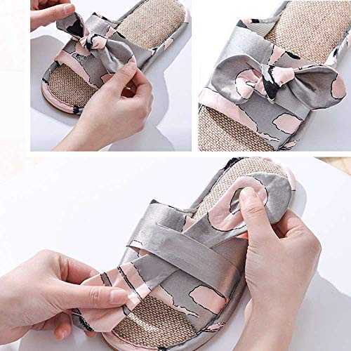 Casual Pink 1 Flax Women Slides House Bow Indoor Ourdoor Open Toe Slippers Linen POqRaYw