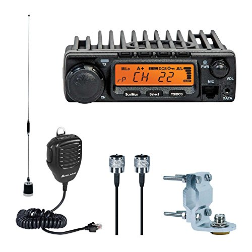 Midland - MXT400VP3, MicroMobile Bundle - MXT400 Two-Way Radio w/ 8 Repeater Channels, 142 Privacy Codes & 6dB Gain Antenna w/Antenna Mounting Bracket, MXTA8 6M Antenna Cord (Single Pack) (Black) - Micro Mobile