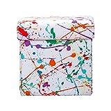 SIScovers Crayola Splat Box Ottoman White - Square