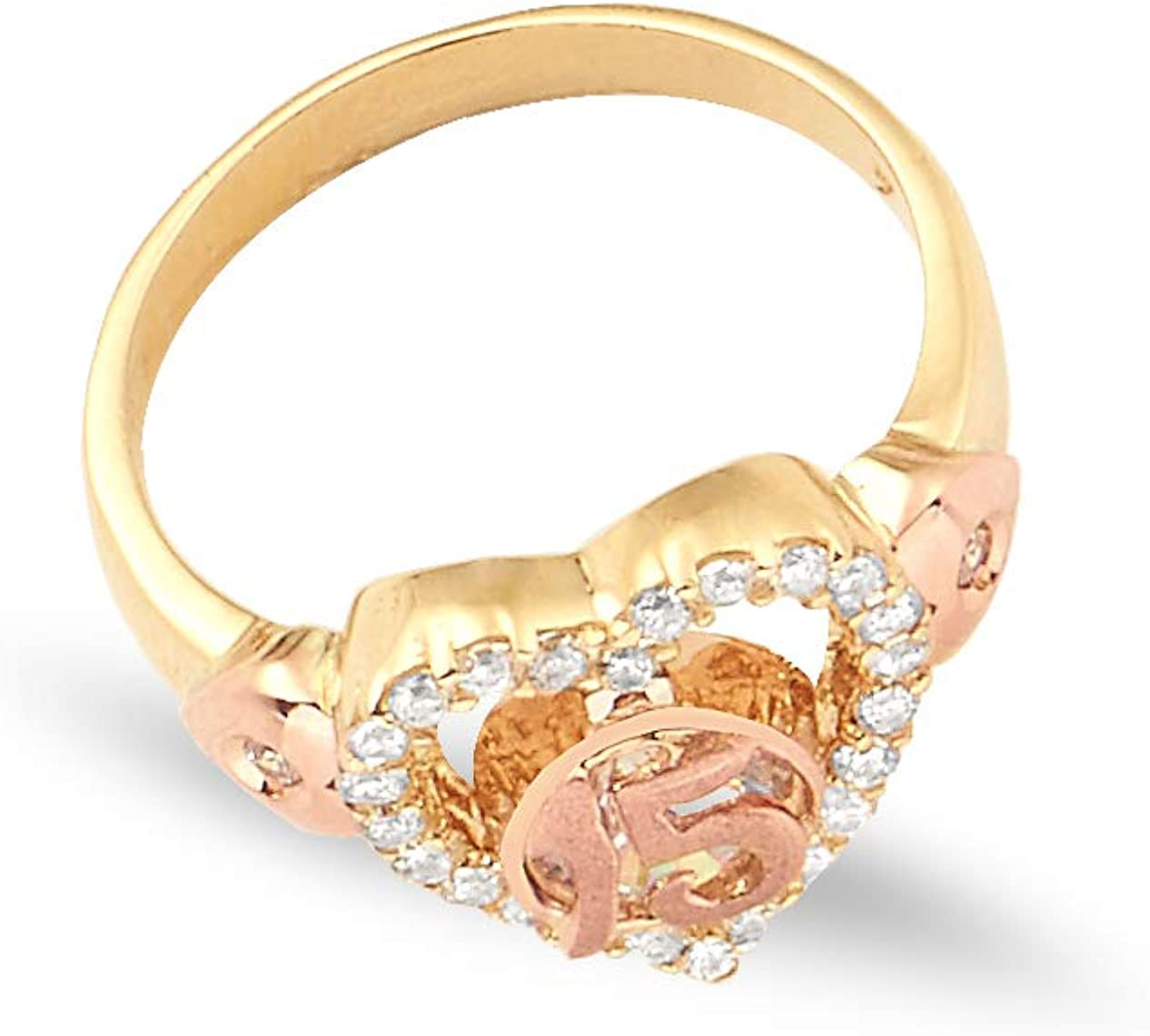 Tone 15 Anos Big Hearts with CZ Stones Quinceanera Ring Available in Sizes 5-9 LoveBling 14k Two