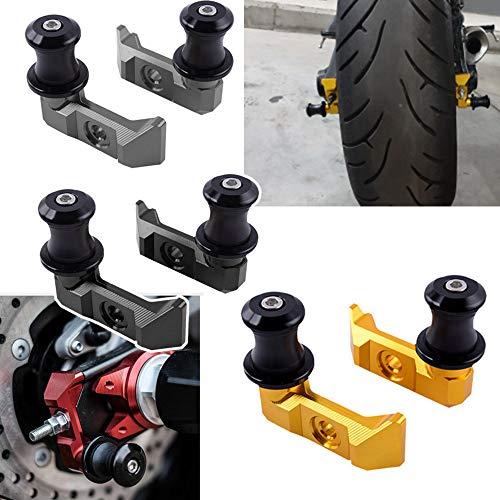 XX eCommerce Motorcycle Motorbike Racing Rear Axle Chain Adjuster Blocks Slider Swingarm Spool Adapter Mounts for 2015-2016 Yamaha FZ-07 MT-07 MT07 15-16 (Titanium) ()