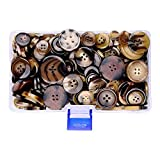 Supla 300 Pcs Brown Buttons Assorted Colors Shapes Light Dark Brown Sewing Bulk Button Mixed Buttons Different Holes Buttons - Sewing Buttons