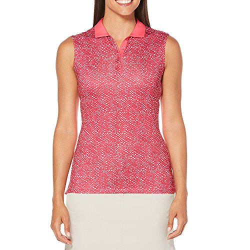 Sleeveless Ladies Callaway - Callaway Women's Opti-dri Ombre Dot Sleeveless Polo, Pink Yarrow, Large