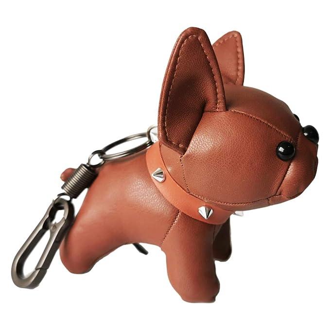 French Bulldog Leather Keychain Bag Charm, Car Key Chain Gift for Women Kids
