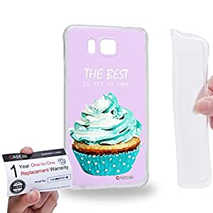 Case88 [Samsung Galaxy Alpha] Gel TPU Carcasa/Funda & Tarjeta de garantía - Art Drawing The Best Is Yet To Come Cupcake Assorted 1291