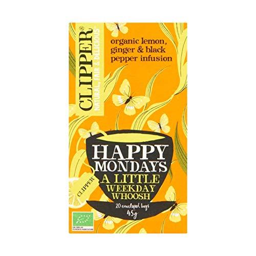 (Herbal Tea | Clipper | Happy Mondays Organic Lemon Ginger & Black Pepper Infusion 20 Stuks | Total Weight 1.59 ounce)