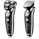 Hatteker Electric Shaver 2 in 1 Professional Men's Electrical Rotary Razor Wet and Dry Dual-Used Cordless Men's Beard Trimmer and Shaver with USB Rechargeable-Waterproof