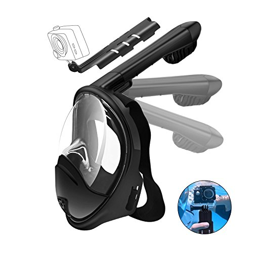 CHICOM 180° Full Face Snorkel Mask With Detachable Gopro Mount, Anti-fog and Anti-leak Technology for Adult, Youth, Kids (Black, Extra Small for Kids)