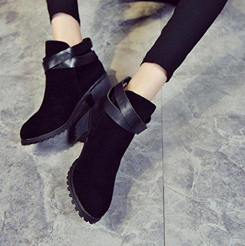 Zapatos para mujer Sannysis Botas de martin con Cinturón de tobillo Negro