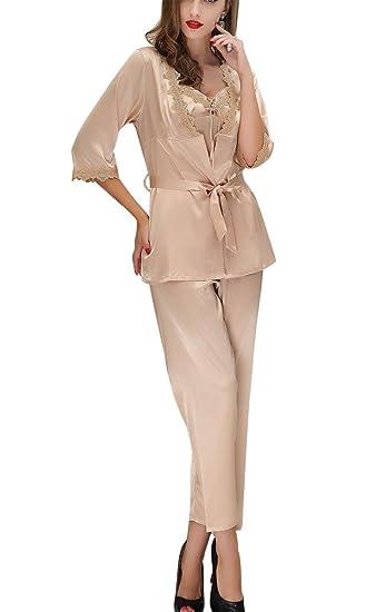a6298257c2d78 Aivtalk Femme Ensemble de Pyjama 3Pcs Luxe Peignoir Satin avec Ceinture +  Sexy Robe de Chambre