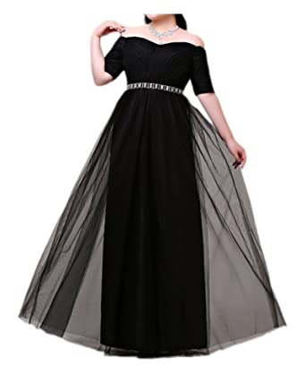 La Mariee Off Shoulder A-Line Prom Gowns Party Dress With Crystal Sash Plus Size