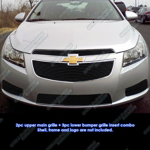 Amazon.com: APS Fits 2011-2014 Chevy Cruze Black Billet Grille Grill Insert Combo #C61032H: Automotive