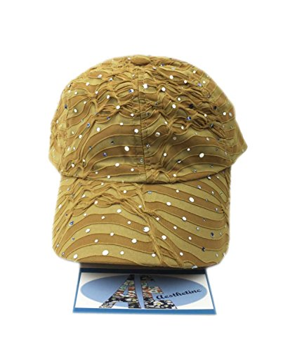 (Aesthetinc Rhinestone Glitter Sequin Baseball Cap Hat Adjustable (Gold))