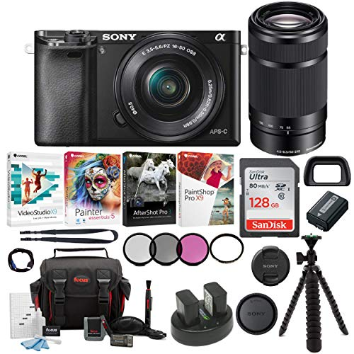 Sony Alpha a6000 Mirrorless Camera w/16-50mm & 55-210mm Lenses & 128GB Bundle For Sale