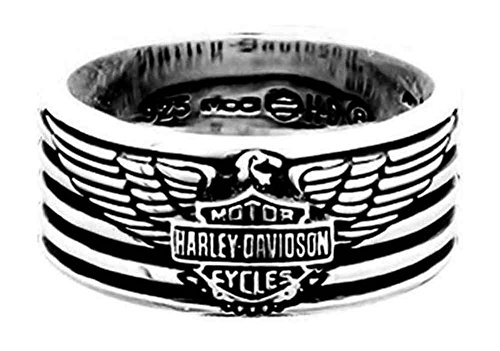 - Harley-Davidson Men's Eagle & Stripes Band Ring, Sterling Silver HDR0381 (11)