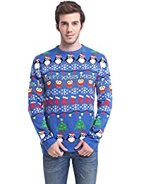 Daisyboutique Men's Christmas Decorations Stripes Sweater Cute Ugly Pullover