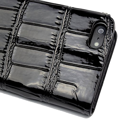 niceeshop(TM) Black Bling Lip Crocodile Print Foldable Stand Synthetic Leather Case Cover With Chain for iPhone 5 5S With Screen Protector