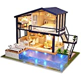 Kisoy Romantic and Cute Dollhouse Miniature DIY House Kit Creative Room Perfect DIY Gift for Friends, Lovers and Families (Time Apartment)