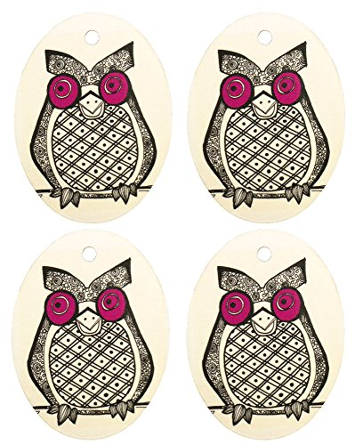Set of Four Owl Print Air Fresheners, Purple, Bayberry ()