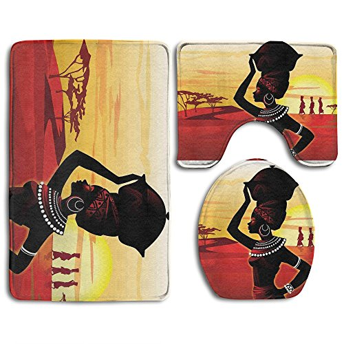 Fashion Printed.Printing African Women 3-Piece Bathroom Rug Non-Slip Bath Mat Lid Cover+Toilet Lid Cover+ Bath Rug Set