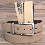 "32-46"" JOHN DEERE CRAZYHORSE MENS LEATHER W/ LOGO BELT WITH CAMO INSERTS TAN"
