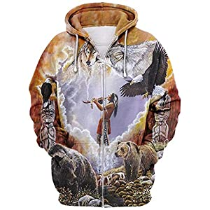 3D Native American Indians Hoodie, Unisex Indian Style Cosplay Swag Sweatshirt Casual Loose Pullover Jackets