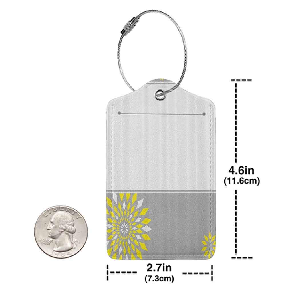 Decorative luggage tag Grey and Yellow Modern Futuristic Border with Geometric Flower Frame Suitable for travel Light Grey White and Marigold W2.7 x L4.6