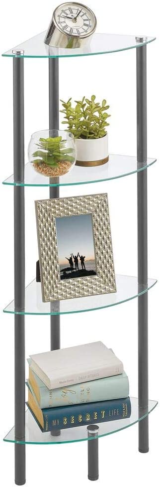 mDesign Household Floor Storage Corner Tower, 4 Tier Open Glass Shelves - Compact Shelving Display Unit - Multi-Use Home Organizer for Bath, Office, Bedroom, Living Room - Dark Gray/Clear