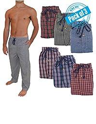 Andrew Scott Men\'s 3 Pack Super Light Weight Lounge Sleep Pants (XL ( 40-42), Assorted Patterns)