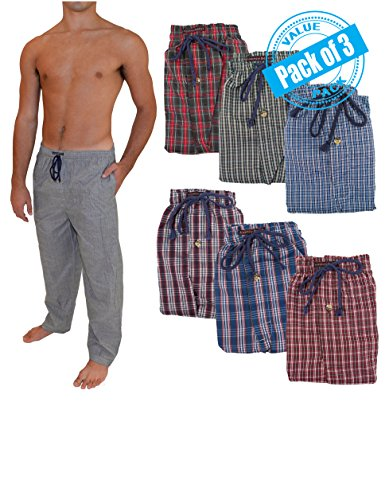 Andrew Scott Men's 3 Pack Super Light Weight Lounge Sleep Pants (XL ( 40-42), Assorted Patterns) (Sleep Pj)