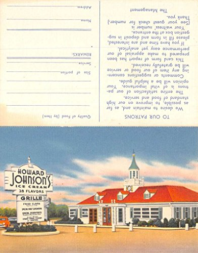 Cream Johnsons Howard Ice (Howard Johnsons Ice Cream Grille Restaurant Bifold Antique Postcard K71047)
