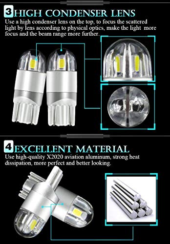 T10 LED Bulb Extremely Bright 3030 Chipset 194 168 SMD W5W LED Wedge Light 1.5W 12V License Plate Light Turn Light Signal Light Trunk Lamp Clearance Lights Reading lamp(White-2pcs