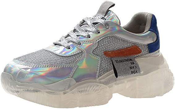ASTAOT Zapatillas De Deporte De Moda con Suela Transparente para Mujer Harajuku Plataforma para Mujer Zapatos Casuales para Mujer Zapatos para Correr con Brillo Láser-Silver: Amazon.es: Deportes y aire libre