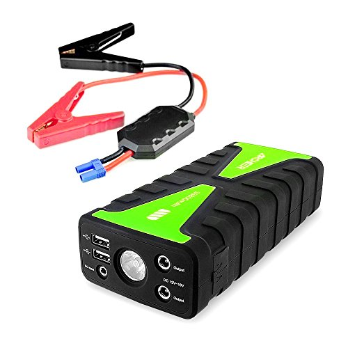 Archeer 800A Peak Compact Car Jump Starter 16800mAh Portable External Battery Charger Booster Power Bank UltraSafe With LED flashlight and 2 USB Ports