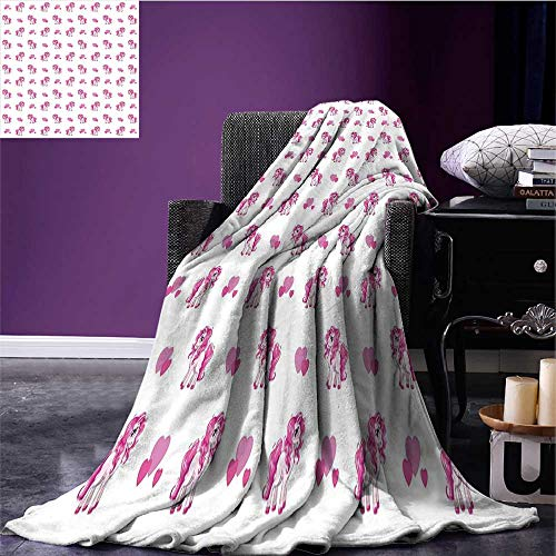 RenteriaDecor Love Digital Printing Blanket Pink Hearts and Magical Pony Horse Kids Girls Design Fairytale Toy Animal Cartoon Warm Blanket Hot Pink White Bed or Couch 90